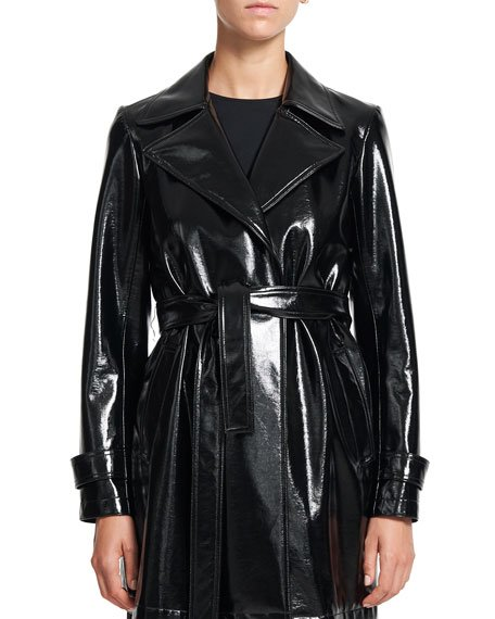 Oaklane Short Faux-Patent Belted Trench