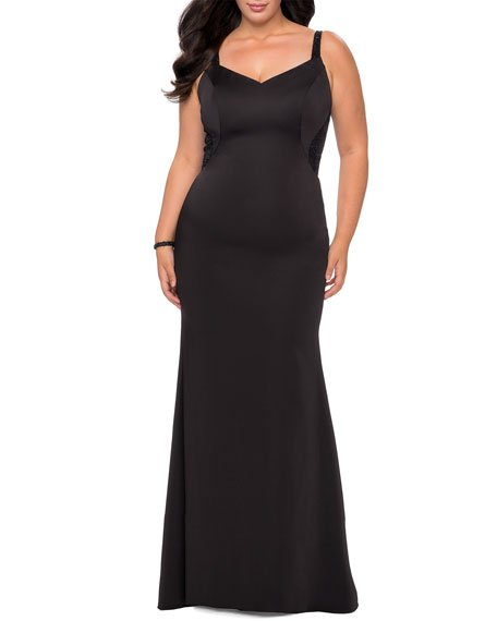 Plus Size V-Neck Lace-Back Sleeveless Jersey Gown
