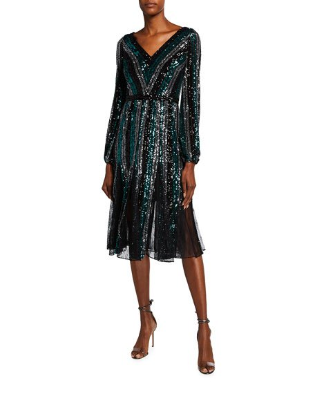Sequin Multicolor Striped V-Neck Long-Sleeve Dress