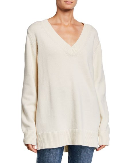 Wool-Cashmere V-Neck Boyfriend Sweater