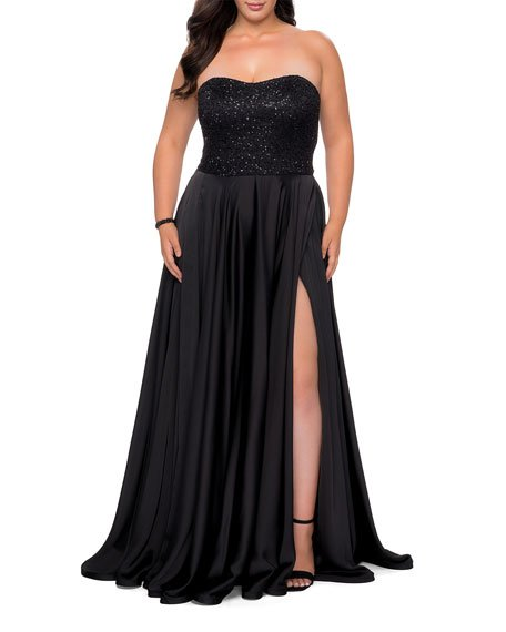 Plus Size Strapless Satin Gown with Sequin Lace Bodice