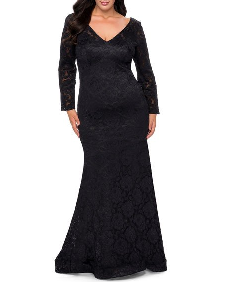 Plus Size V-Neck Long-Sleeve Sheer Back Lace Gown