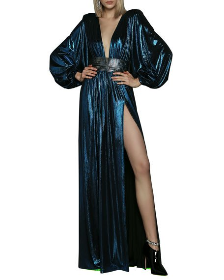 Plunge-Neck Balloon-Sleeve Lame Gown