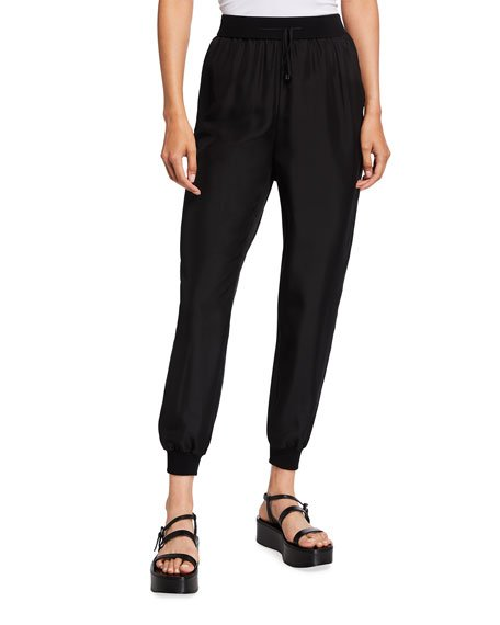 Petite Slouchy Cropped Silk Pants with Knit Cuffs