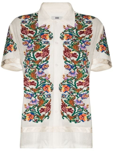 Bode floral-jacquard short-sleeve Shirt