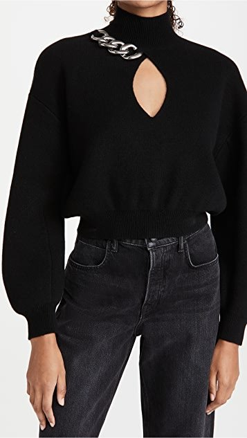 Turtleneck Pullover with Chain Link Front