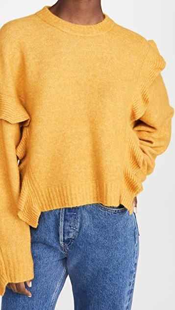 Long Sleeve Lofty Cropped Ruffle Pullover