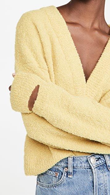 Slit Cuffs V Neck Cropped Pullover