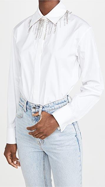 Crystal Fringe Collar Blouse