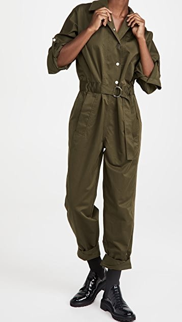 Long Sleeve Twill Utility Jumpsuit