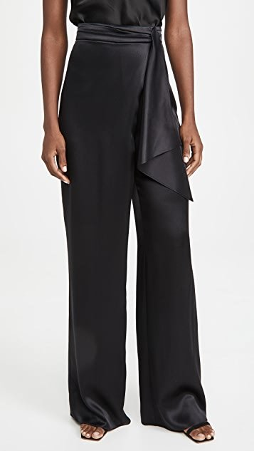 High Waisted Wide Leg Pants with Faux Tie