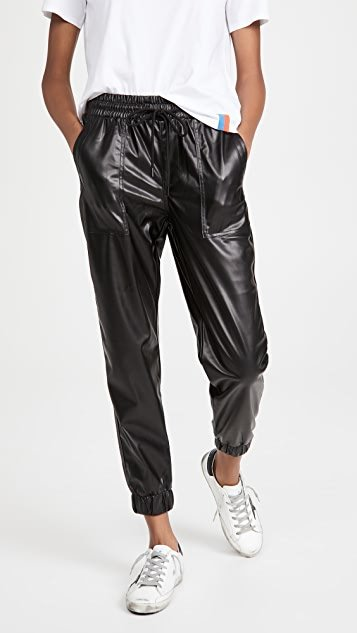 Black Widow Faux Leather Joggers