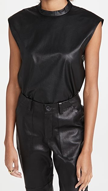 Faux Leather Mock Neck Top