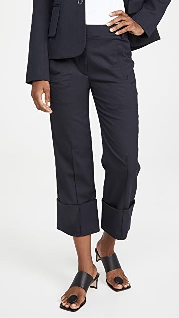 Cuffed Hem Cropped Pants