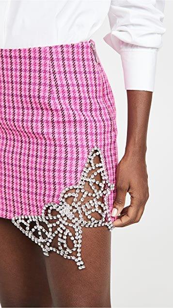 Crystal Butterfly Cutout Miniskirt