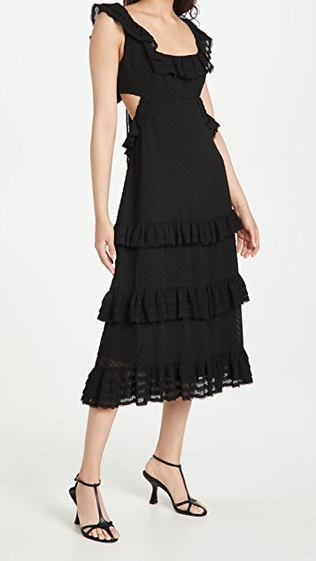 Pleated Lace Flutter Midi Dress
