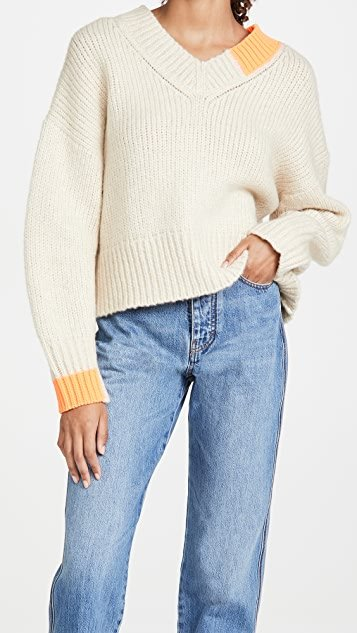 Camel V Neck Sweater