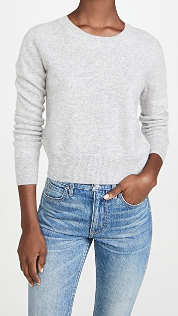 Long Sleeve Crop Cashmere Pullover