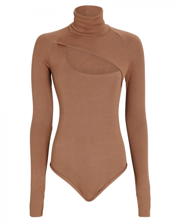 Carder Turtleneck Rib Knit Bodysuit