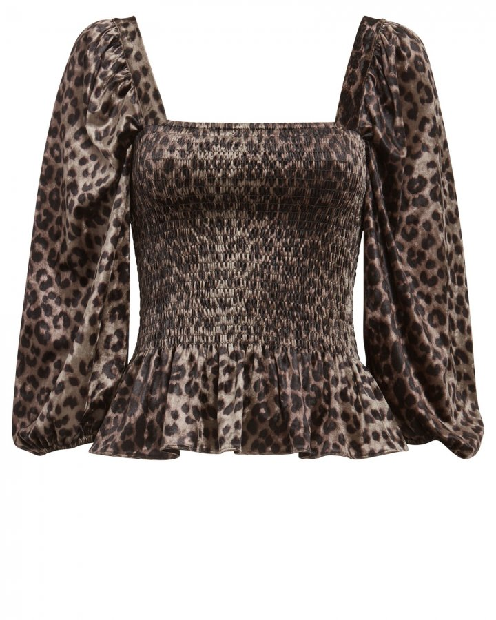 Adelina Smocked Leopard Satin Top