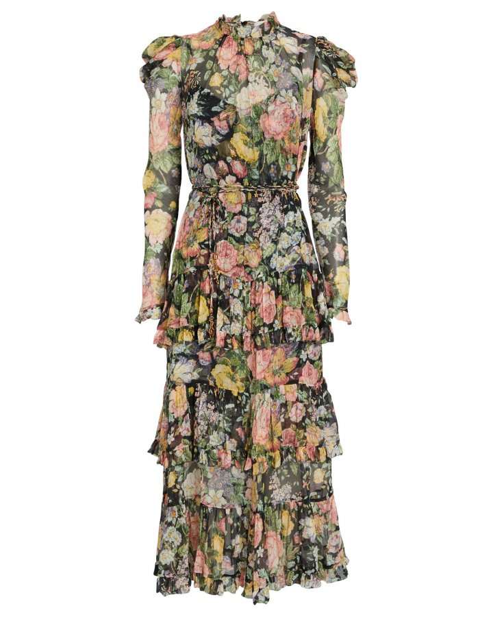 Ladybeetle Ruffled Floral Midi Dress