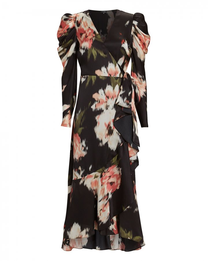 Mona Floral Silk Wrap Dress