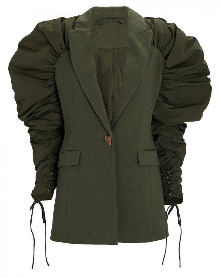 Interlace Ruched Puff Sleeve Blazer