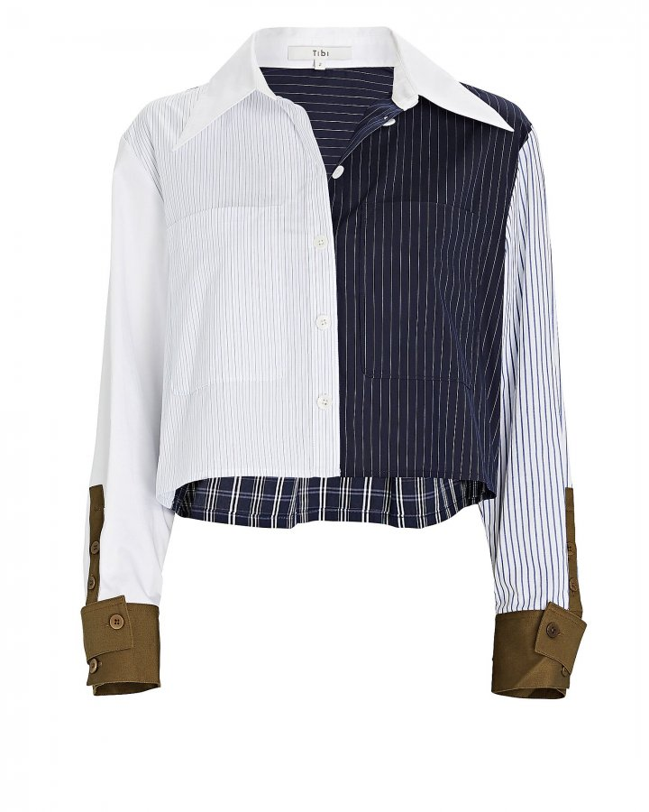 Cropped Patchwork Button-Down Shirt