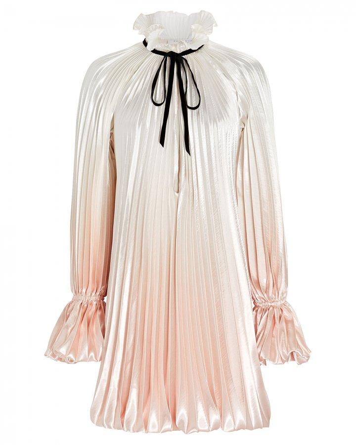 Pleated Tie-Neck Mini Dress