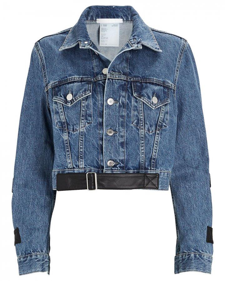 Leather-Trimmed Cropped Denim Jacket