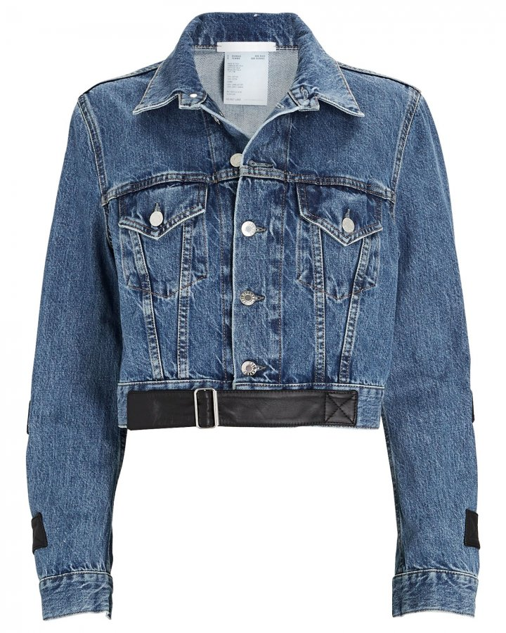 Leather-Trimmed Cropped Denim Jacket