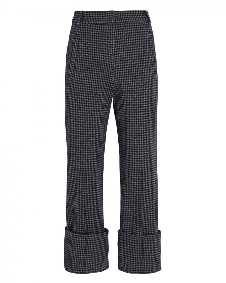 Camille Cropped Check Cuff Pants