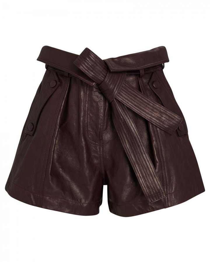 Othello Tie-Waist Leather Shorts