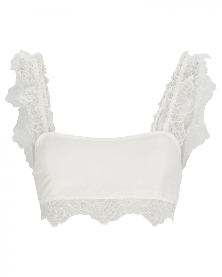 Alma Lace-Trimmed Crop Top