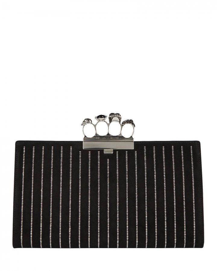 Skull Four Ring Crystal Leather Clutch