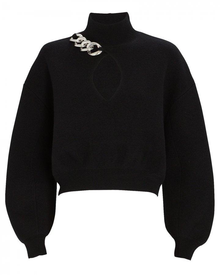 Chain Trim Turtleneck Sweater