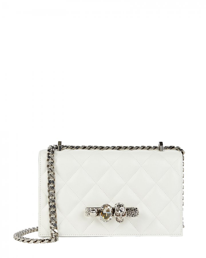 Jeweled Quilted Leather Satchel