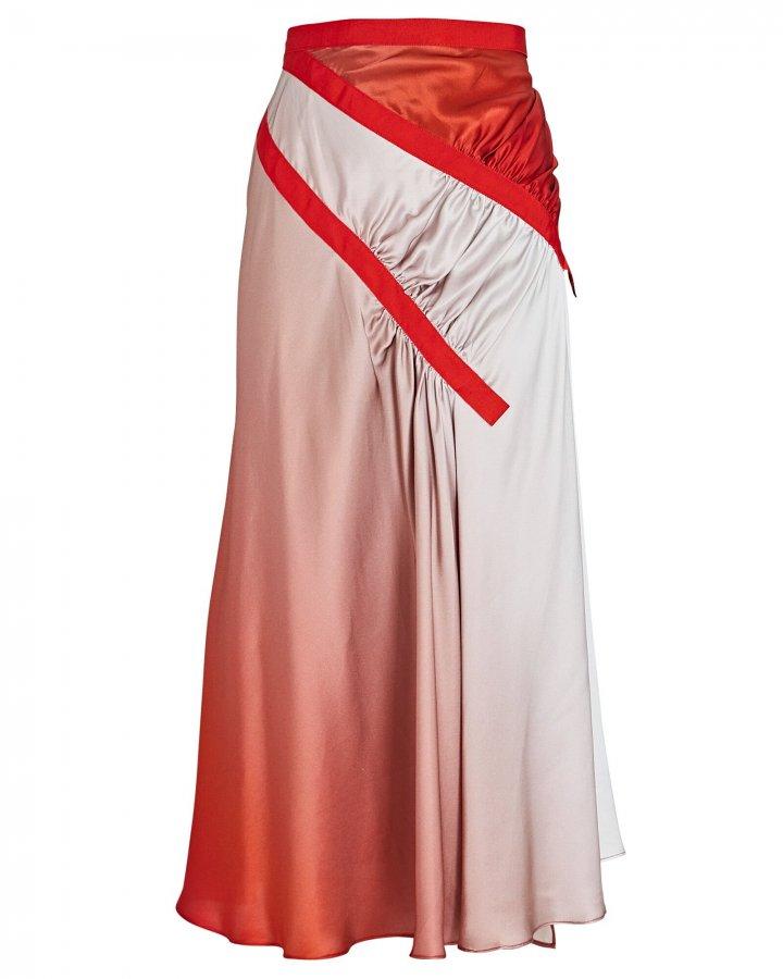 Silk Ombré Midi Skirt