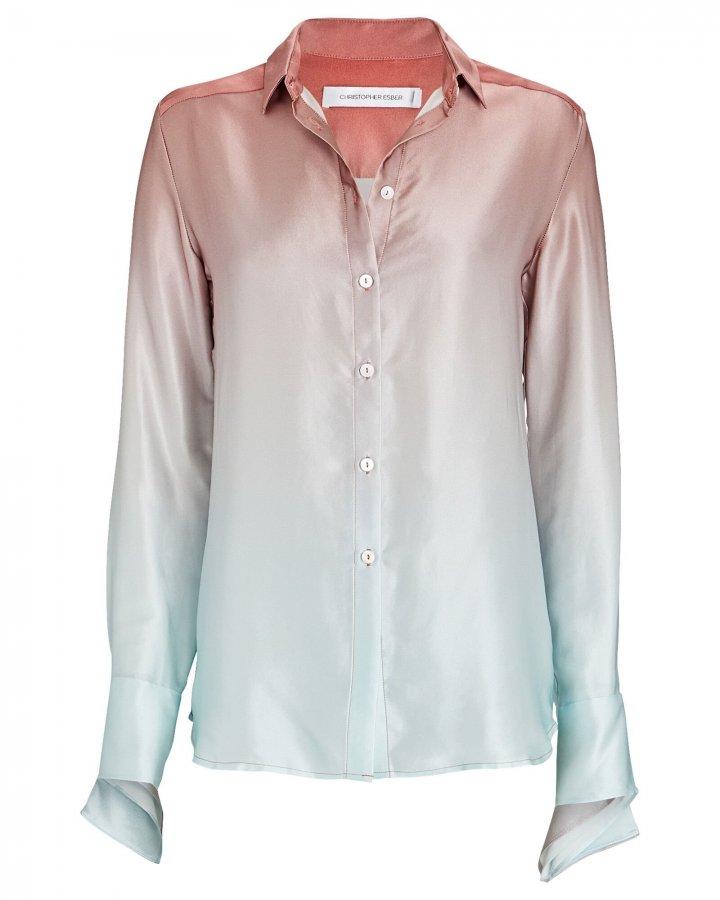 Silk Ombré Button-Down Shirt