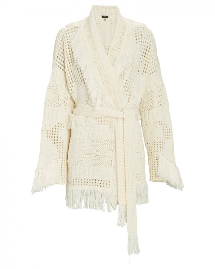 Icon Net Fringed Wrap Cardigan
