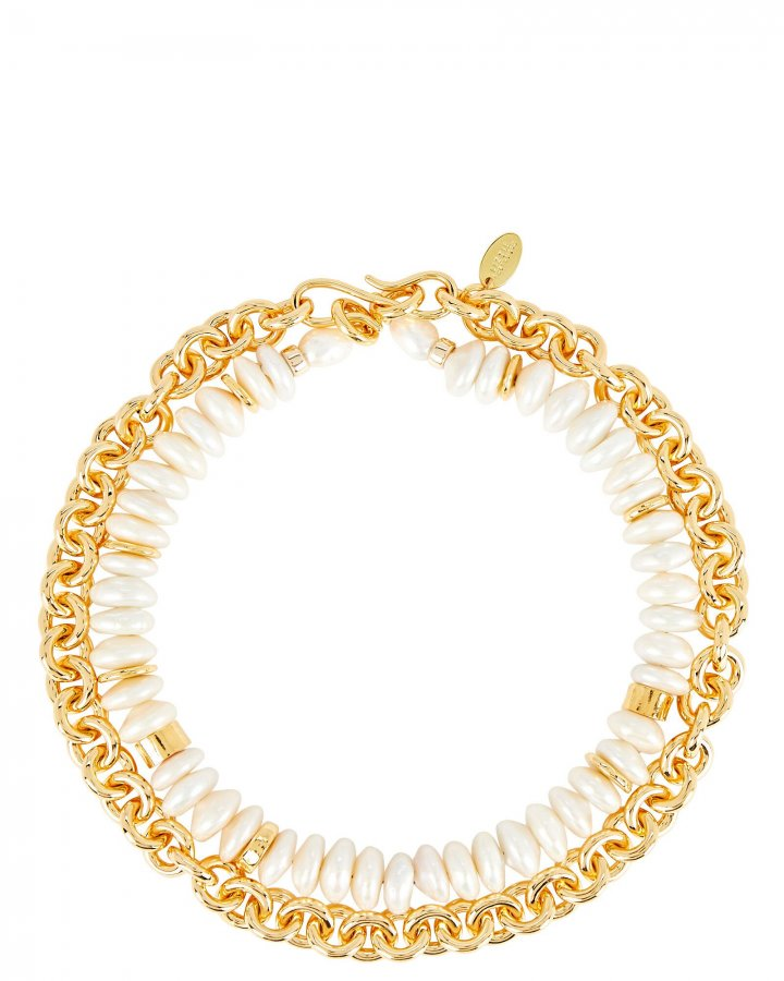 Niki Pearl Chain-Link Necklace