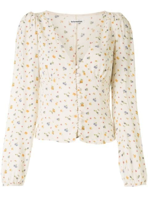 Reformation Nell Floral-Print Blouse Ss20 | Farfetch.Com
