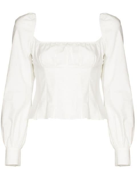 Reformation Helena Organic cotton-blend Blouse