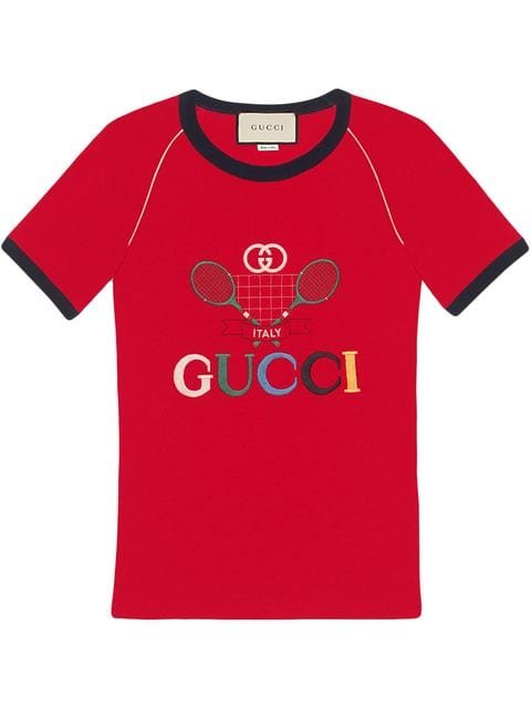 Gucci Gucci Tennis Embroidered T-Shirt Aw19 | Farfetch.Com