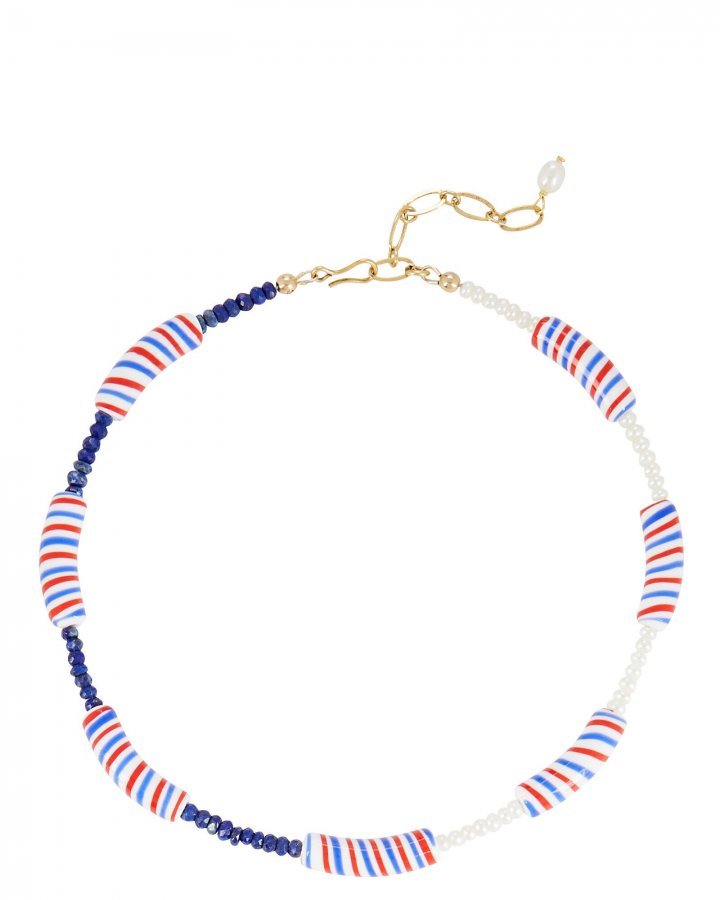 Candy Stripe Beaded Necklace