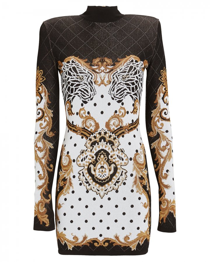 Baroque Knit Jacquard Mini Dress