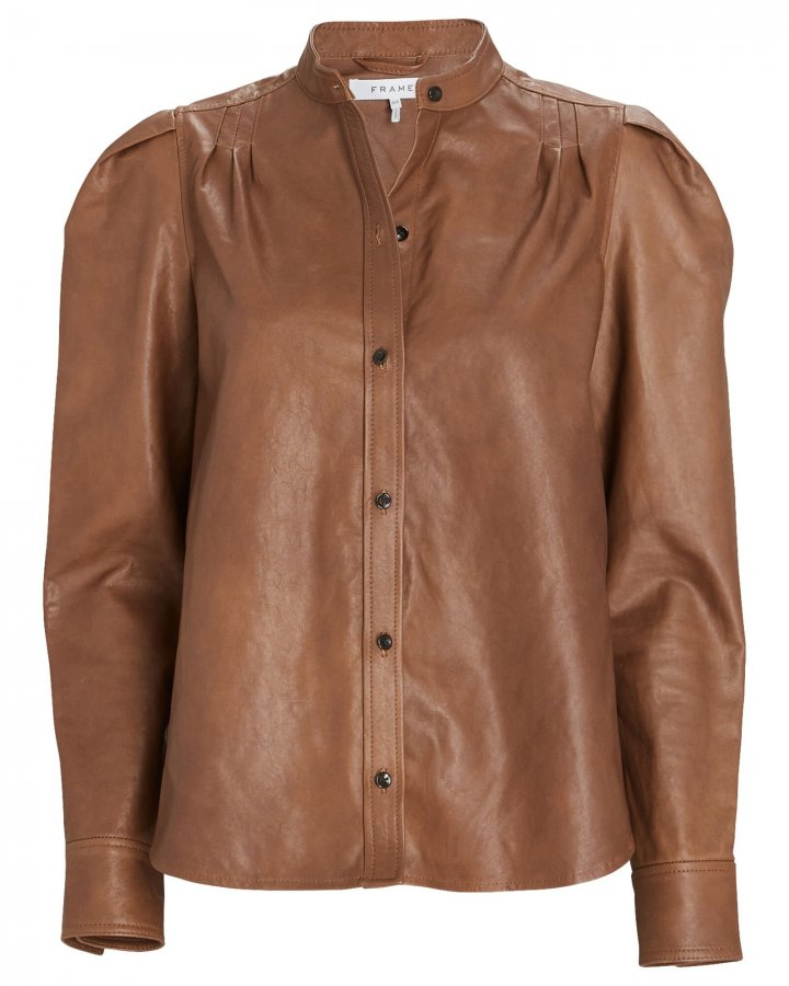 Charlie Puff Sleeve Leather Shirt