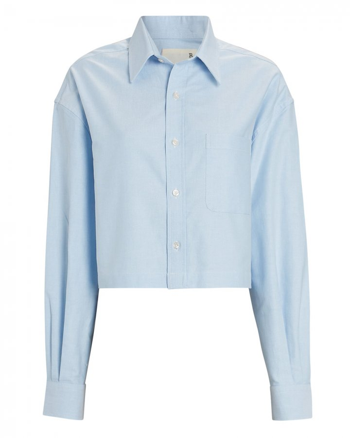 Cropped Cotton Button-Down Shirt