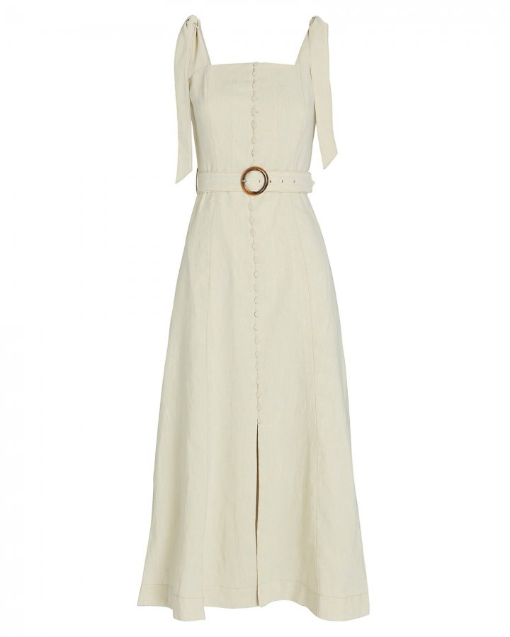Dawn Linen-Blend Apron Dress