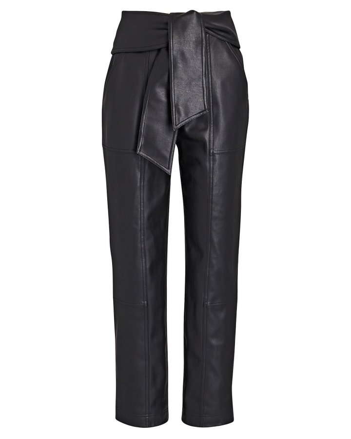 Tessa Tie-Waist Vegan Leather Pants